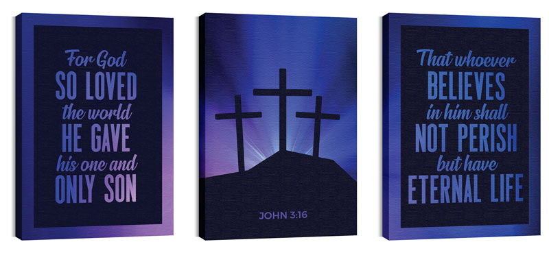 Wall Art, Easter, Aurora Lights Celebrate Easter Triptych, 24 x 36