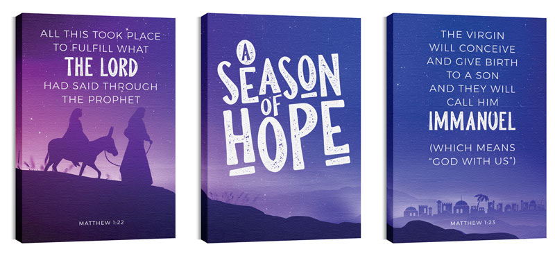 Wall Art, Christmas, A Season Of Hope Purple Triptych, 24 x 36
