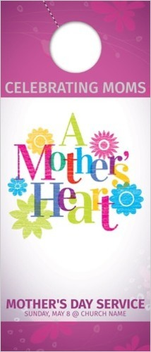Door Hangers, Mother's Day, A Mothers Heart, Standard size 3.625 x 8.5, with 3 per 8.5 x 11 sheet